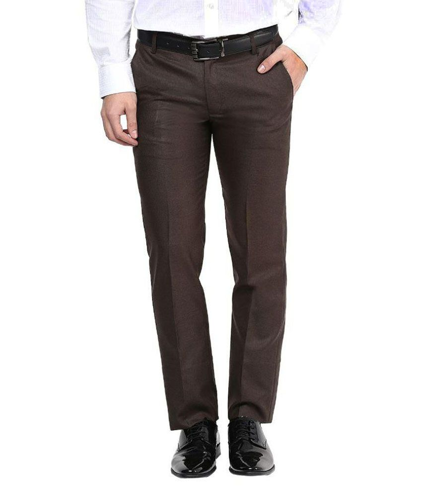 Bukkl Brown Regular Fit Pleated Trousers