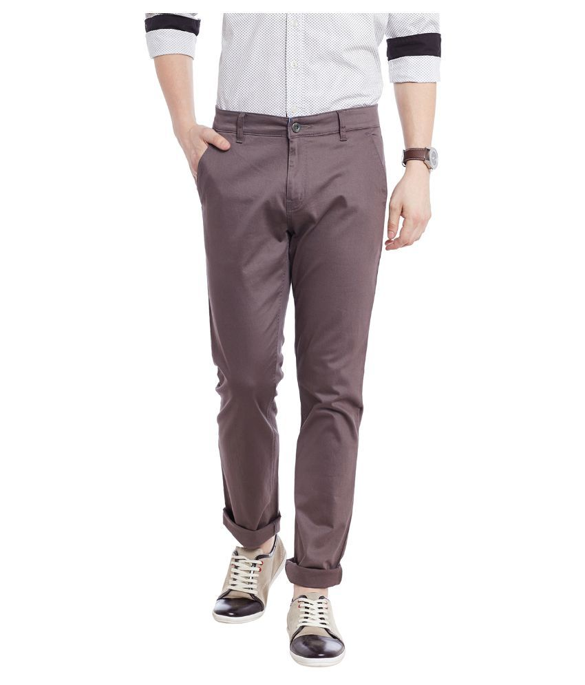 Jogur Brown Regular Fit Chinos