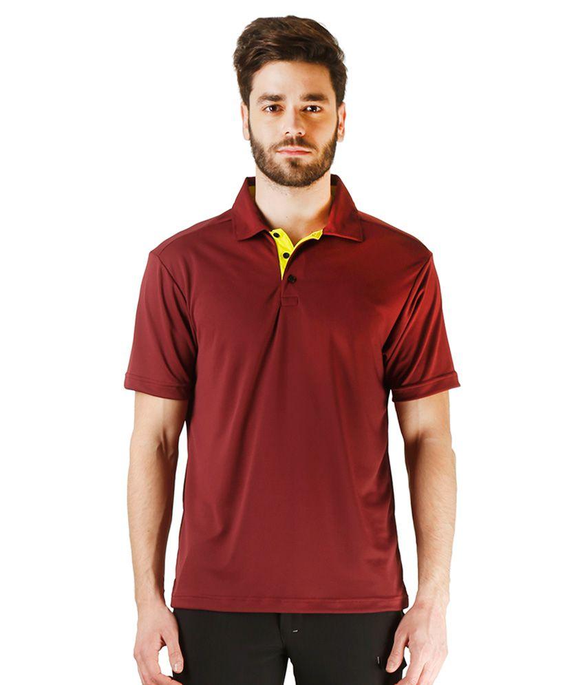 Revo Maroon Polyester Polo T-Shirt