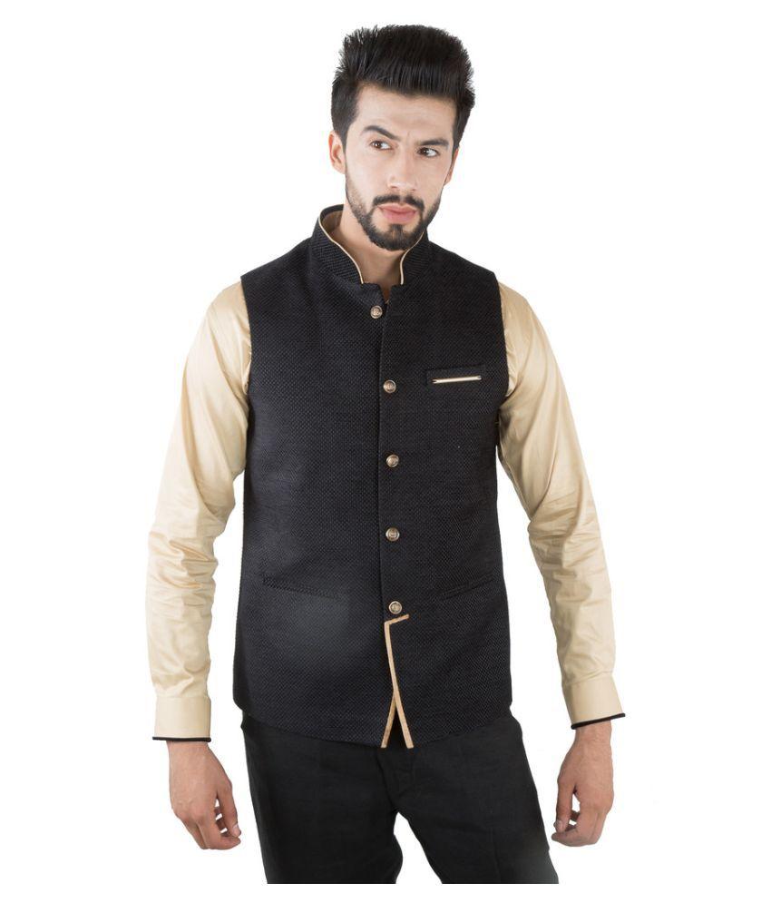 Jahanpanah Black Festive Waistcoats