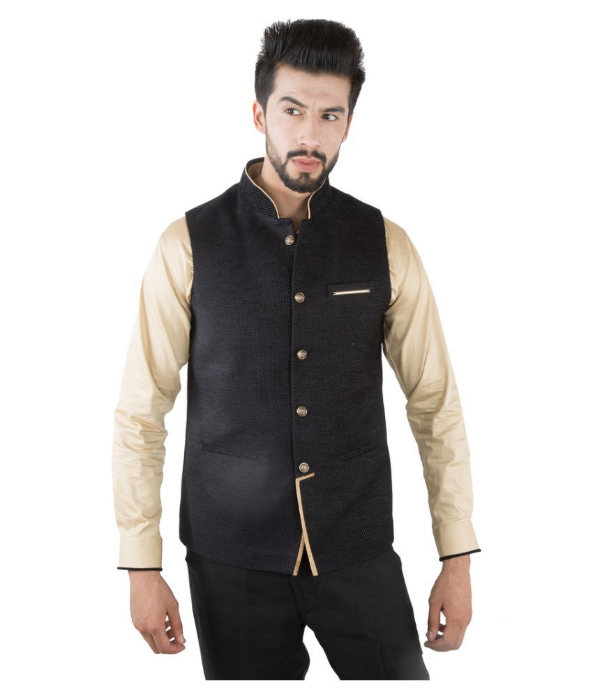 Jahanpanah Black Wedding Waistcoats