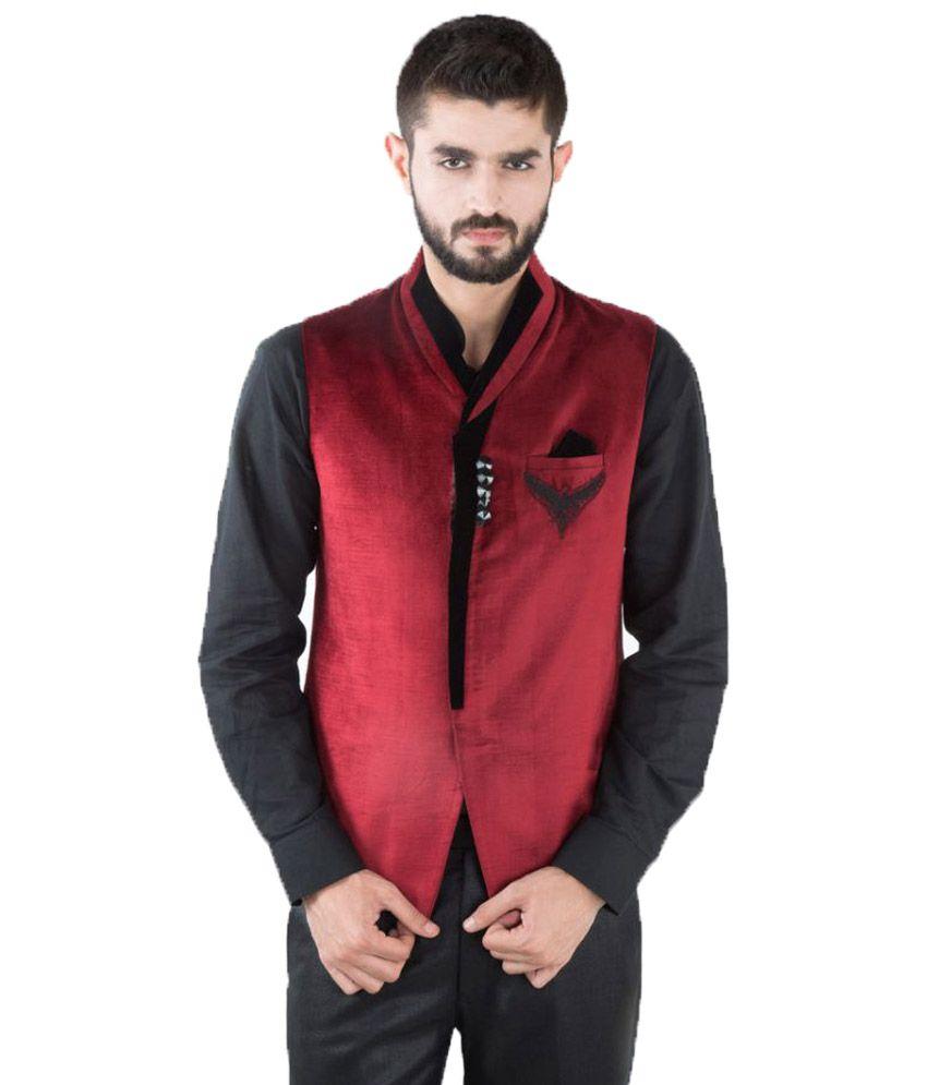 Jahanpanah Maroon Festive Waistcoats