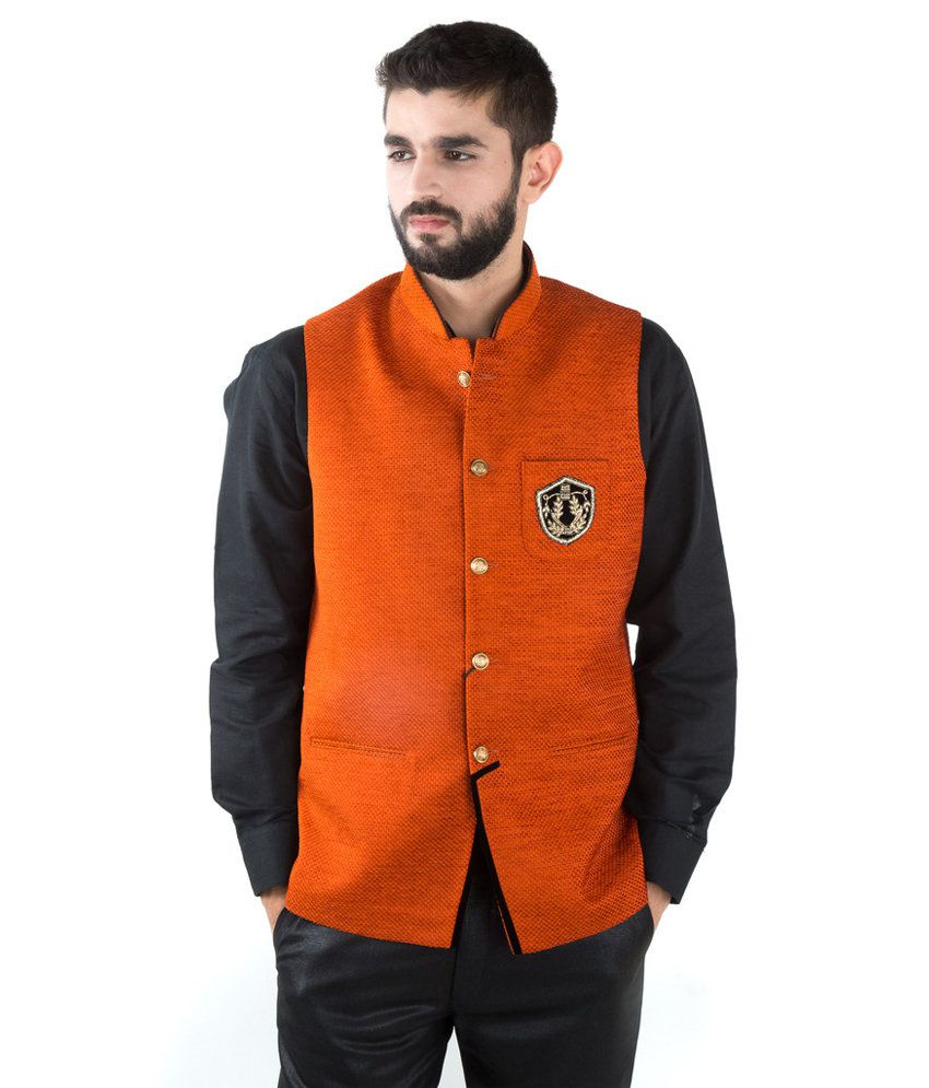 Jahanpanah Orange Wedding Waistcoats