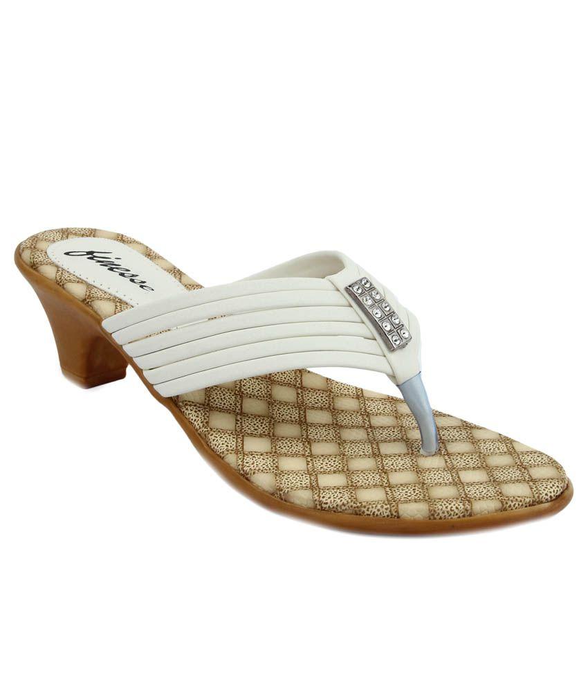 Finesse White Block Heels