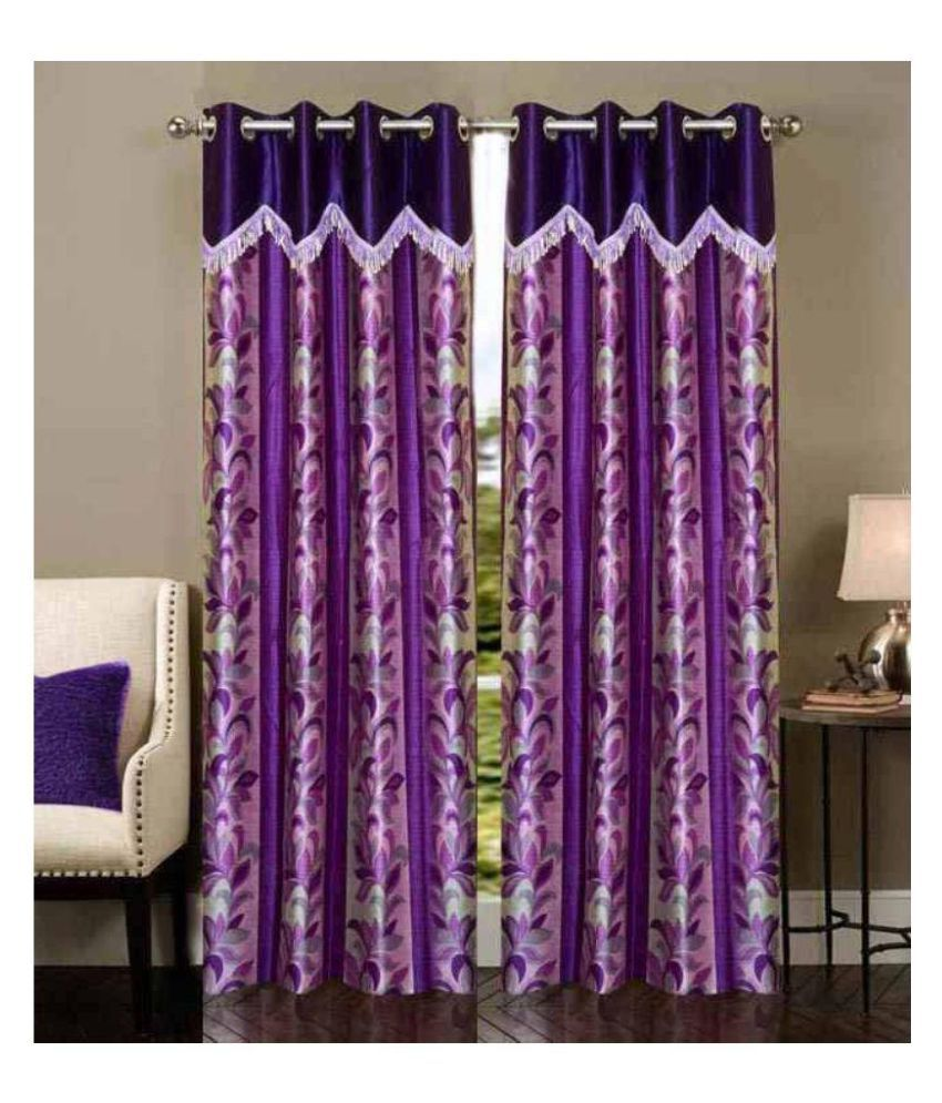 New Trends Set Of 2 Door Eyelet Curtain Floral Purple
