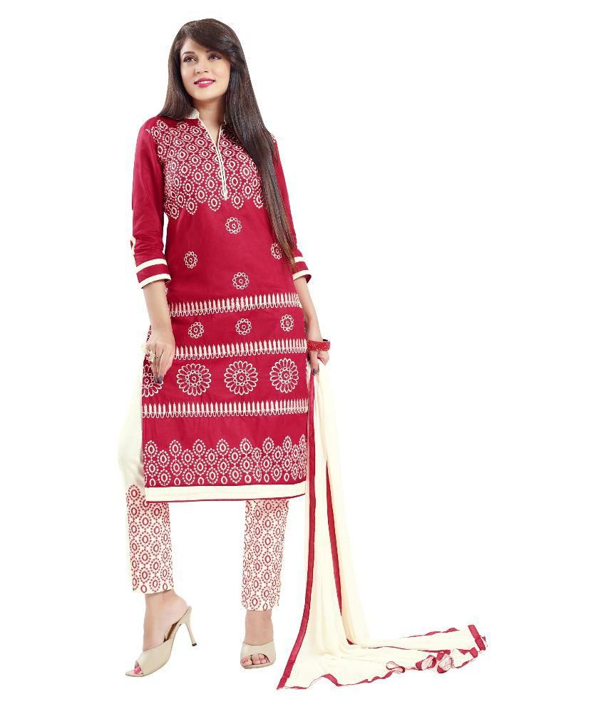 Thankar Red Cotton Dress Material