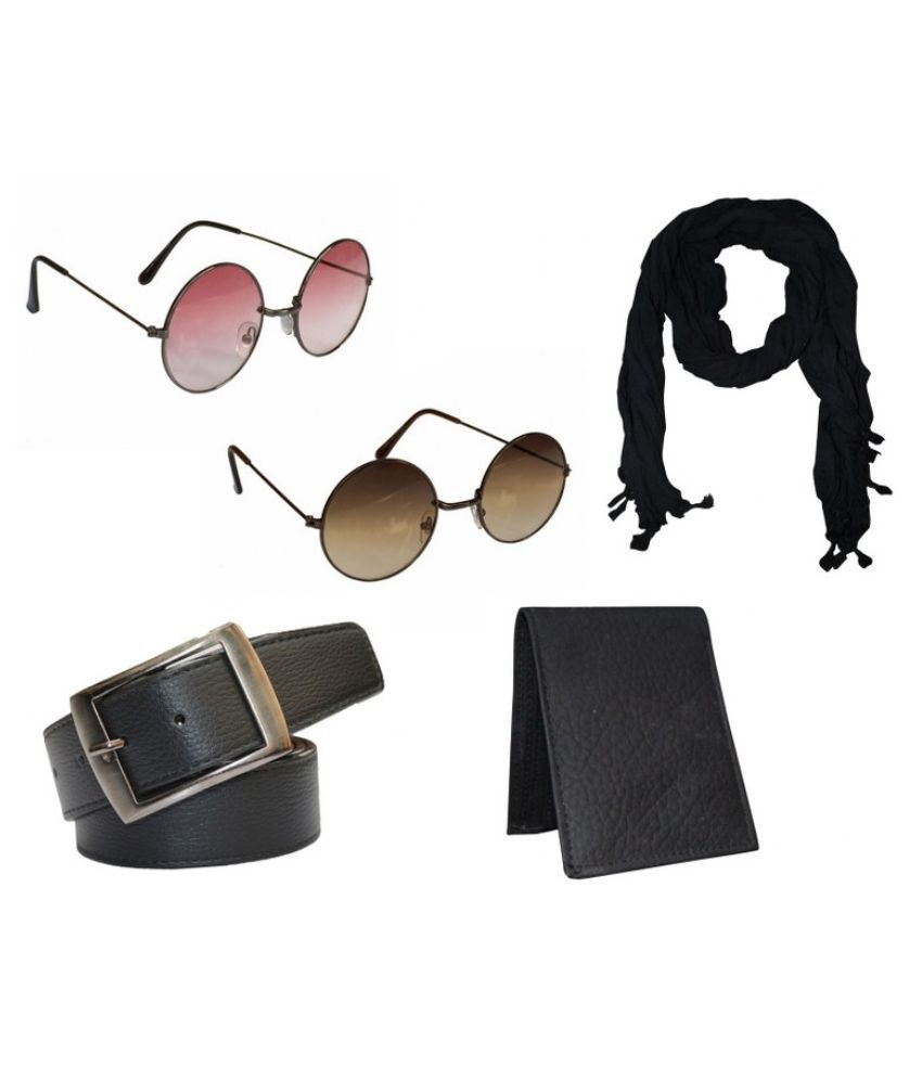 Winsome Deal Black Non Leather Belt with Wallet , Scarf , 2 Sunglasses