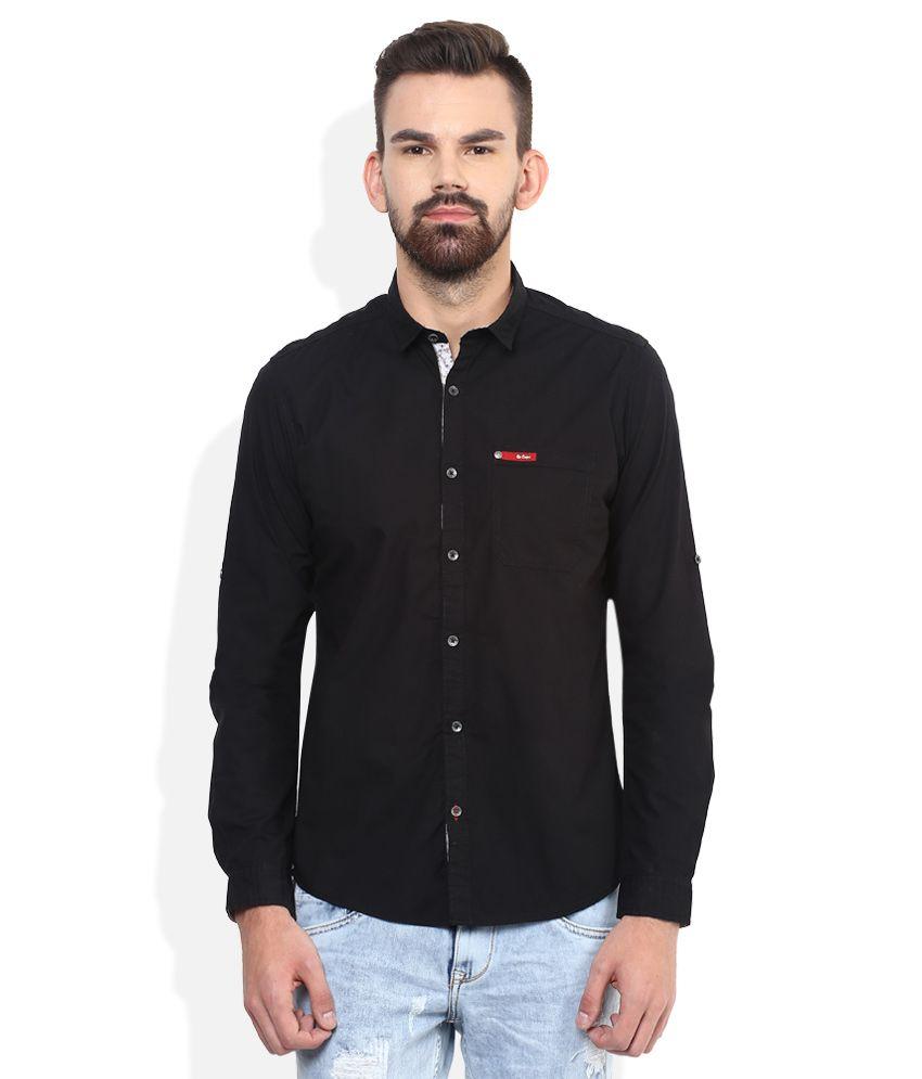 Lee Cooper Black Solid Regular Fit Casual Shirt