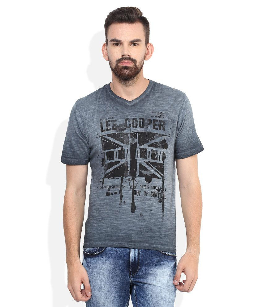 Lee Cooper Grey Printed Regular Fit T-Shirt