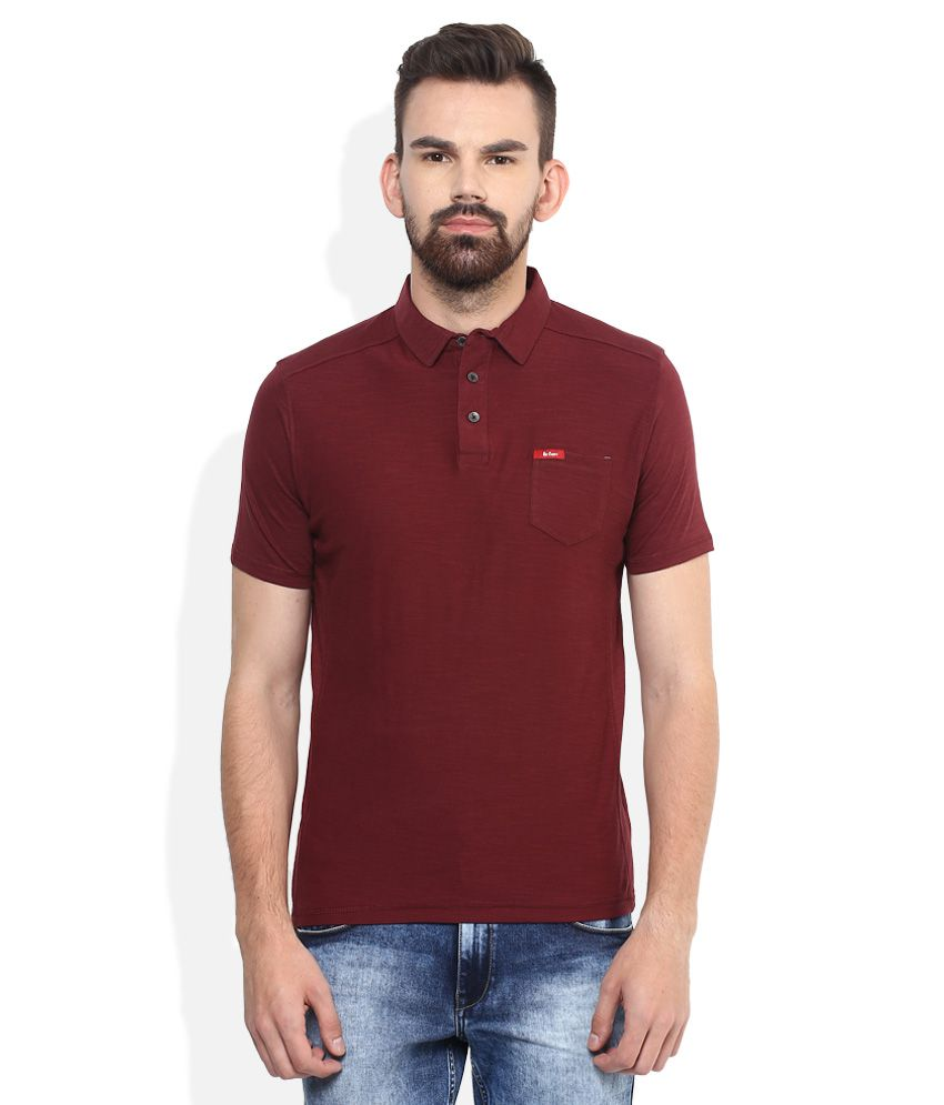 fac3736d Lee Cooper Maroon Solid Regular Fit Polo T-Shirt - Buy Lee Cooper Maroon  Solid Regular Fit Polo T-Shirt Online at Low Price - Snapdeal.com