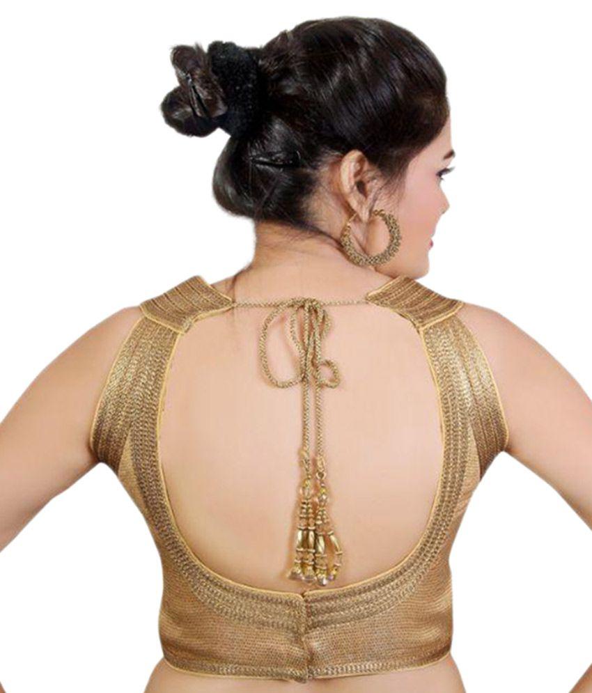 67adf6ff9ea694 Atulya Designer Blouse Gold Round Shape Back Blouse - Buy Atulya ...