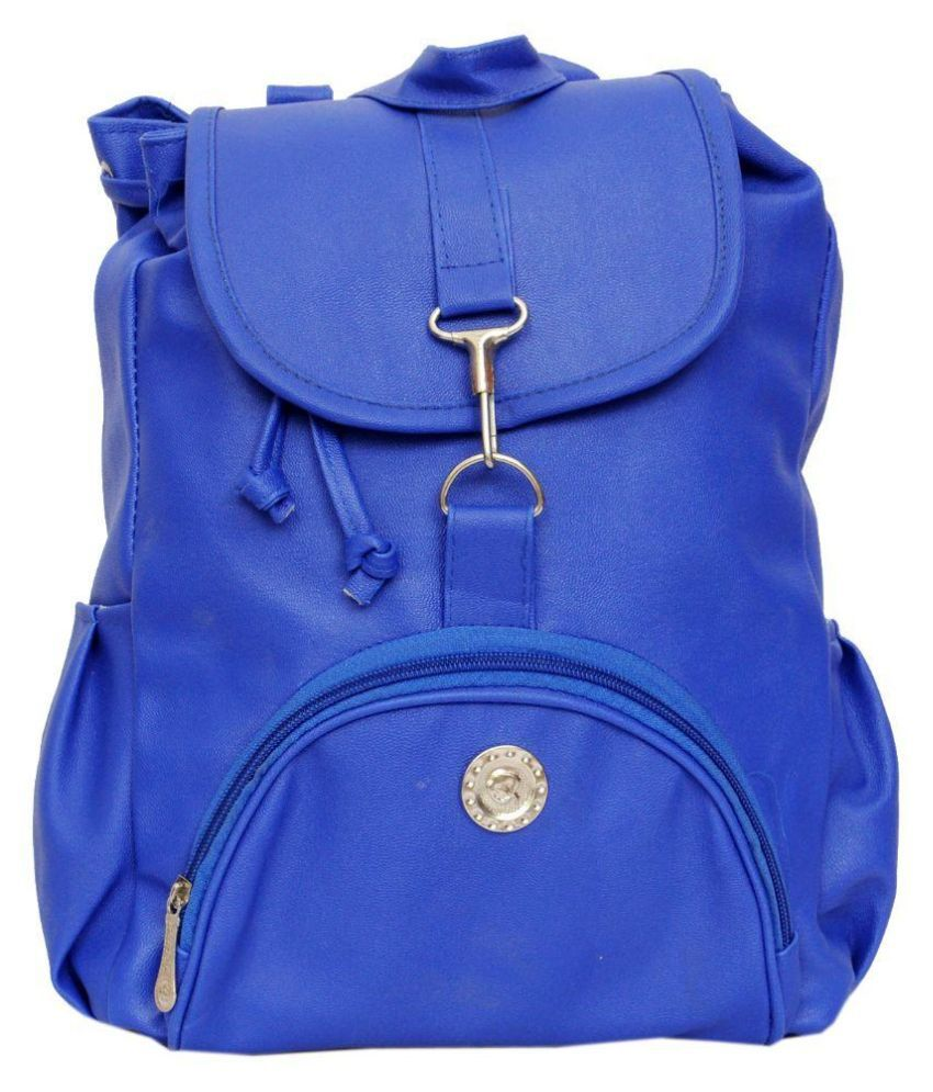 B & B Blue Faux Leather Backpack