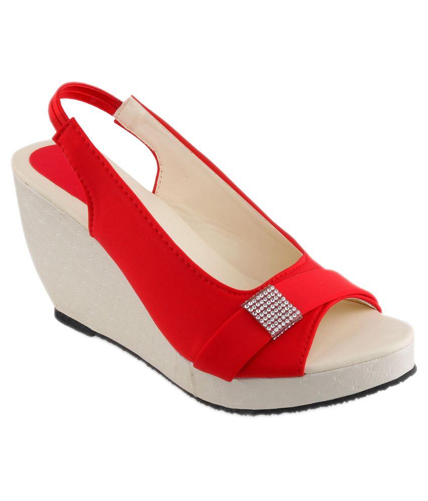 Shoe Lab Red Wedges Heels