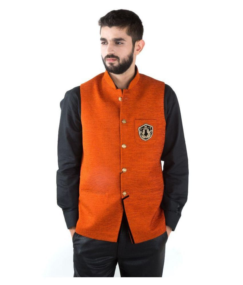 Jahanpanah Orange Party Waistcoats