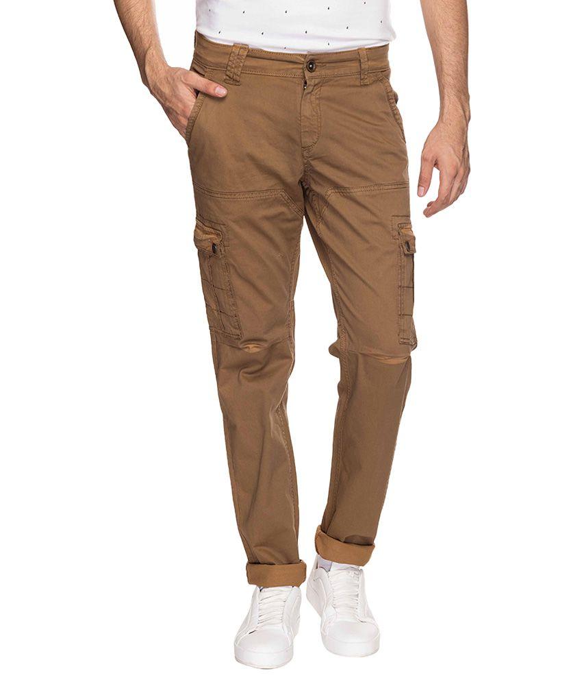 Mufti Khaki Regular Fit Trousers