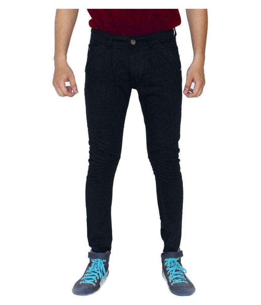 Rivex Black Slim Fit Solid Jeans