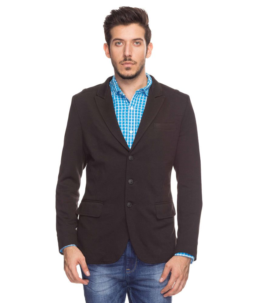 Mufti Black Lapel Collar Blazer