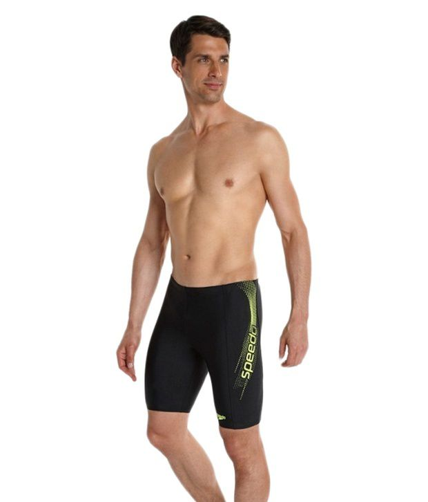 ed67fa3e8c Speedo Black Sports Logo Jammer Men Swimwear/ Swimming Costume: Buy Online  at Best Price on Snapdeal