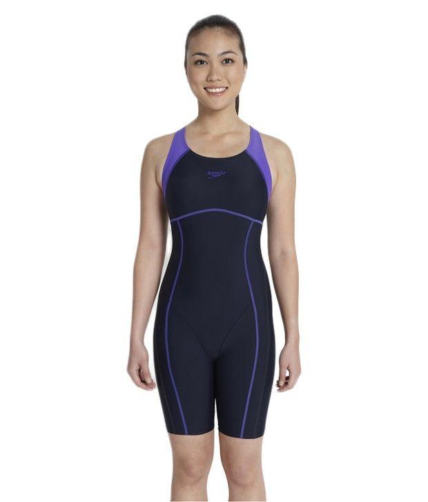 Speedo Navy Essential Spliced Womens Leg Suit