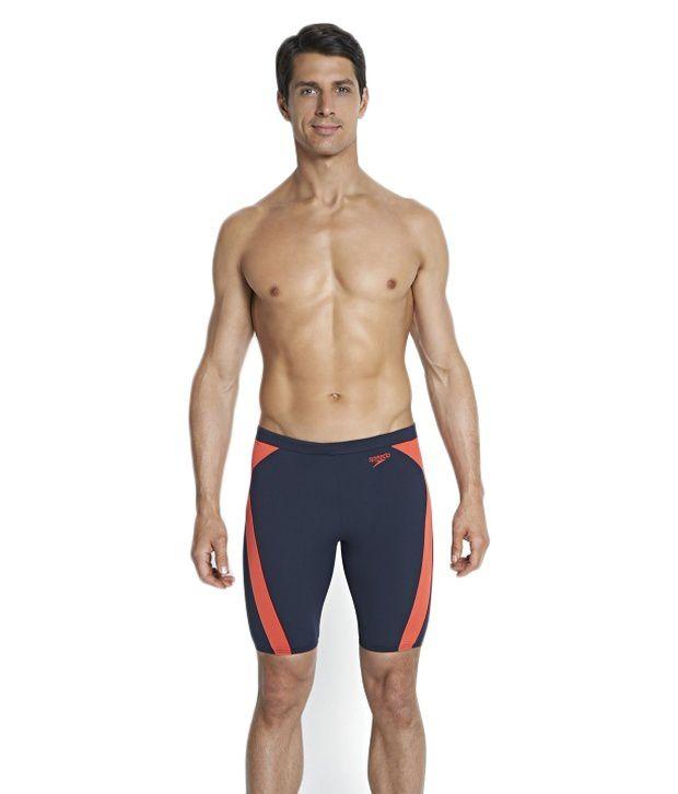 Speedo Navy Monogram Graphic Splice Jammer Men Swimwear