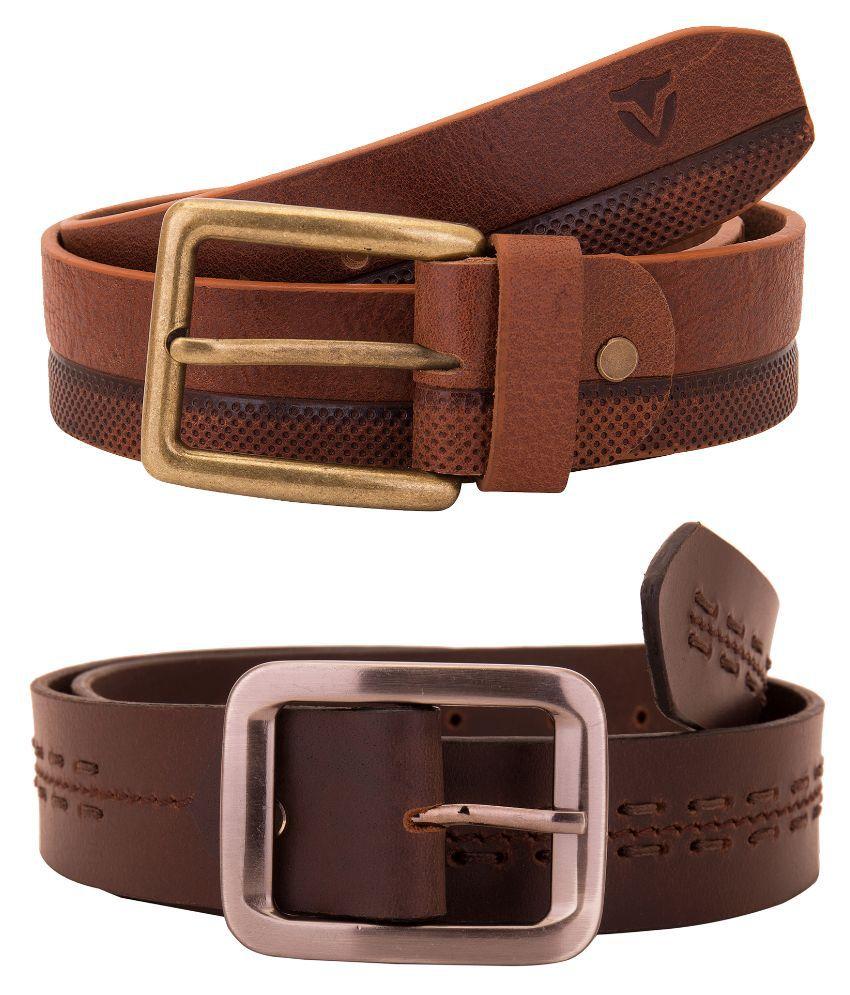 Valbone Brown Leather Belt - Pack of 2