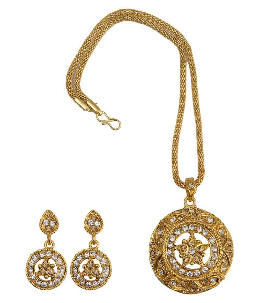 Taj Pearl Alloy Golden Pendant Set