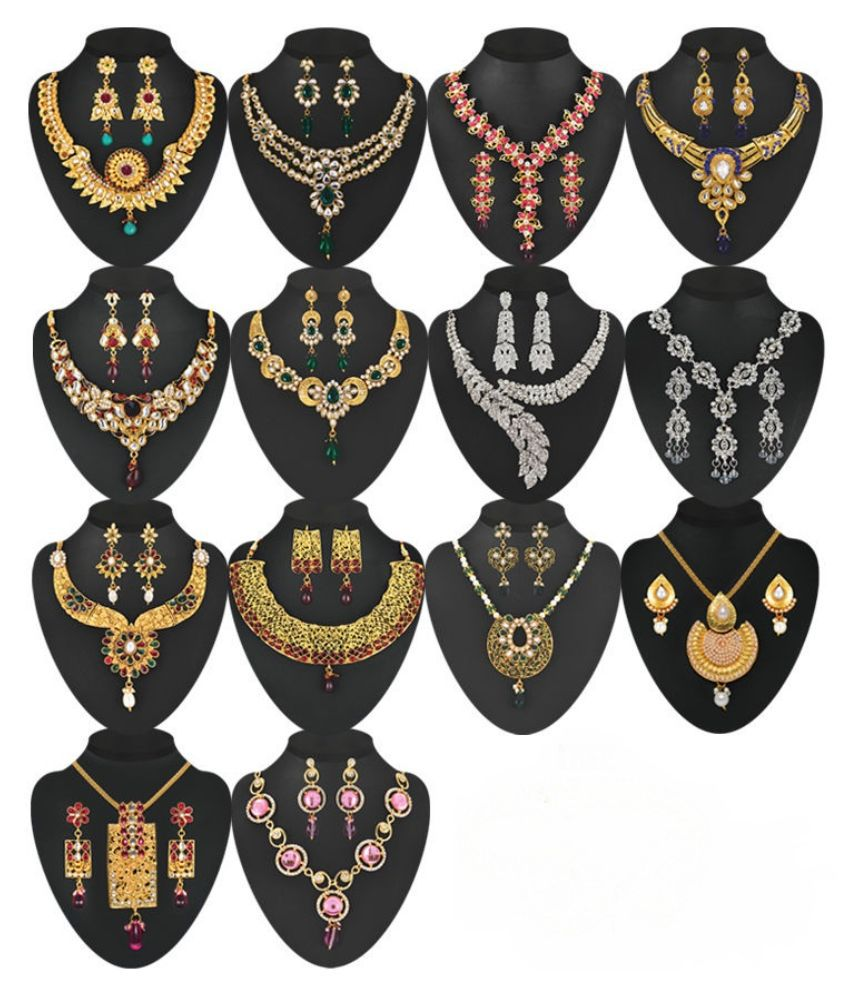 Payal Designs Multicolor Necklace Set - Pack of 14