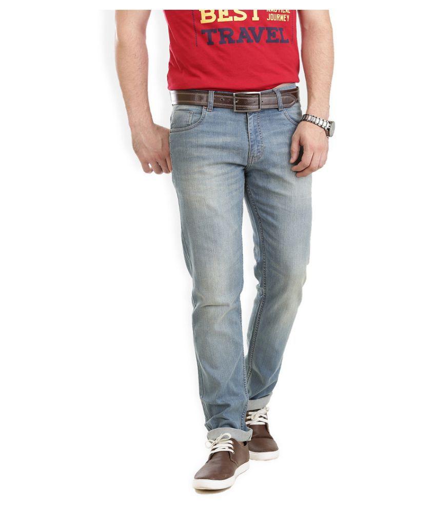 VUDU Blue Slim Fit Solid Jeans