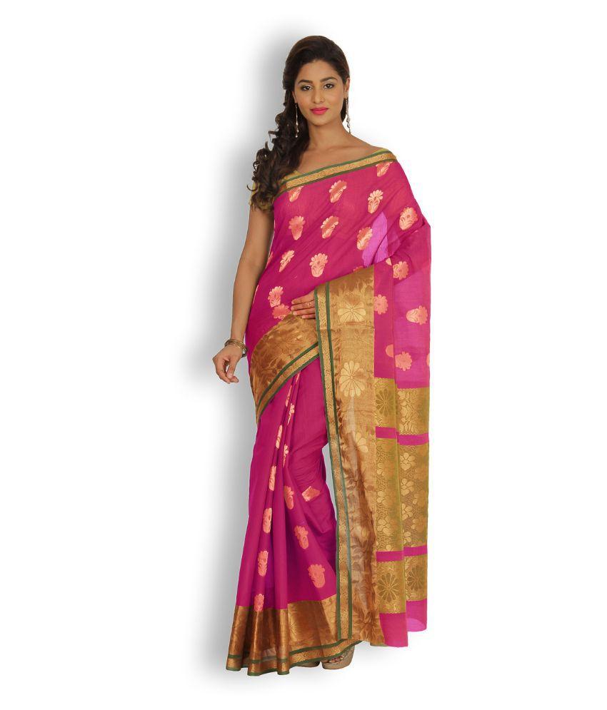 Platinaa Pink Cotton Silk Saree