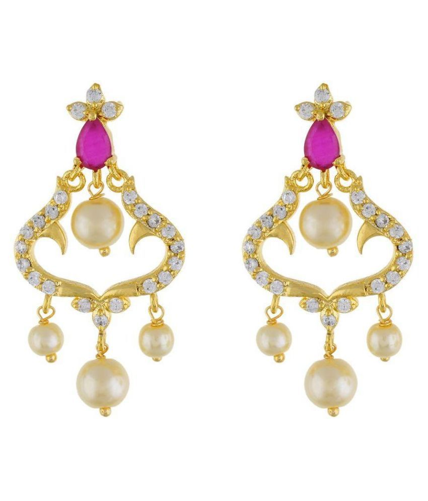 Jewel Planet Golden Alloy Polki Studded Earring