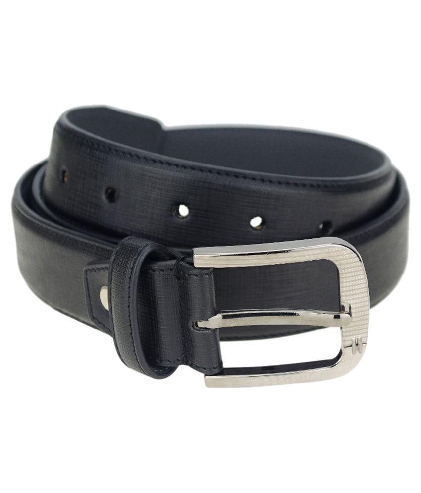 Kaos Black Leather Belt for Men