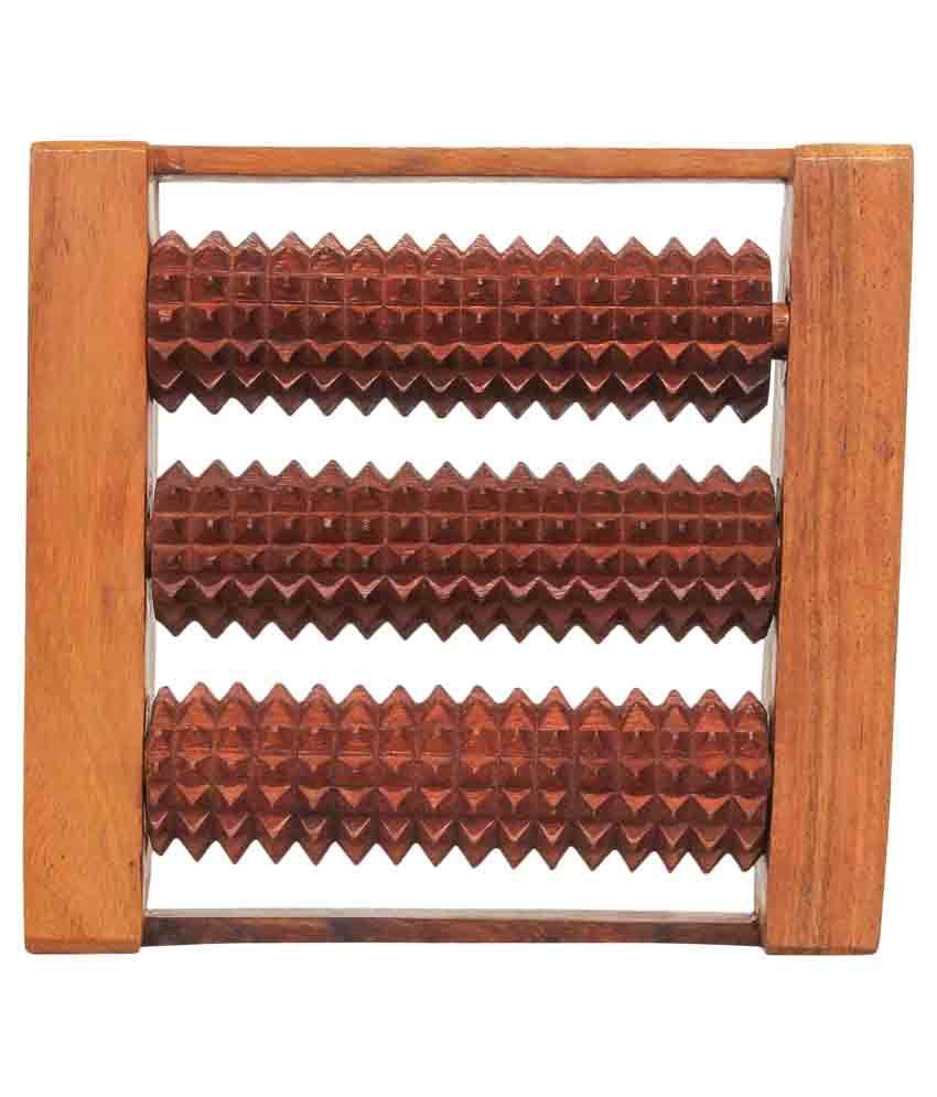 Craft Art India Brown Wooden Roller Foot Massager