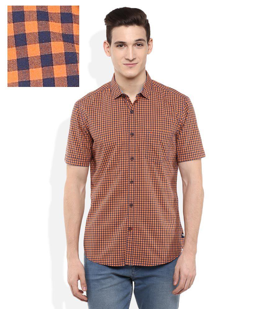 Indigo Nation Orange Slim Fit Checks Half Sleeves Shirt