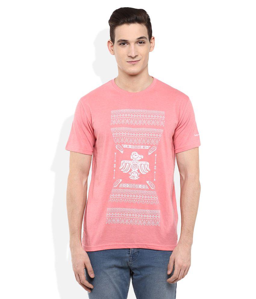 Indigo Nation Pink Round Neck Half Sleeves Printed T-Shirt