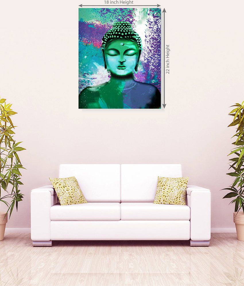 Sky Trends Lord Buddha Attractive Dark Green Floral Abstract Canvas Painting
