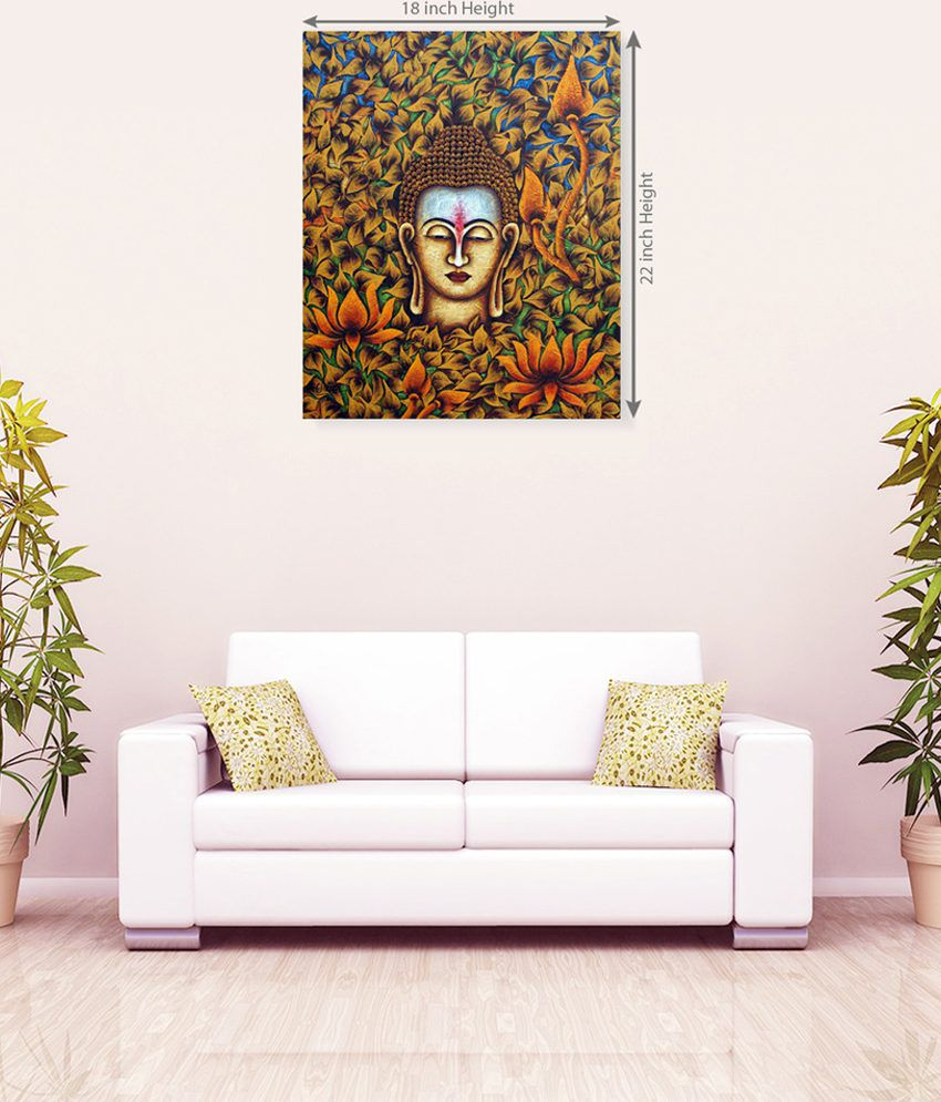 Sky Trends Lord Buddha With Flowers Canvas Painting