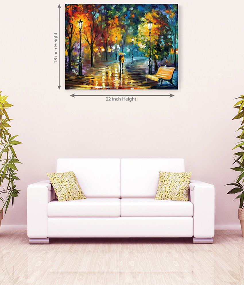Sky Trends Couple On Road With Ambrella Romantic Canvas Painting