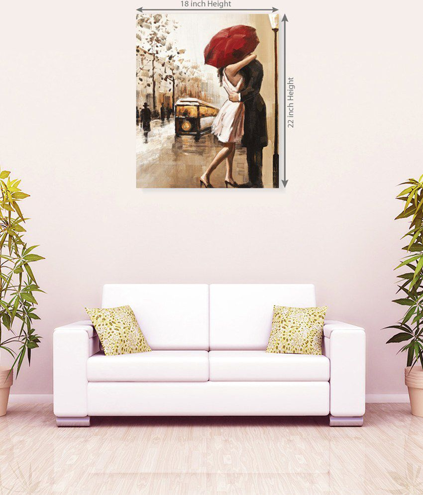 Sky Trends Romance On Rain Couple Romantic Canvas Painting