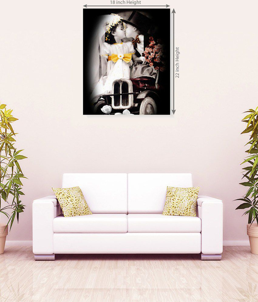 Sky Trends Cute Baby Romance With Flower Romantic Canvas Painting