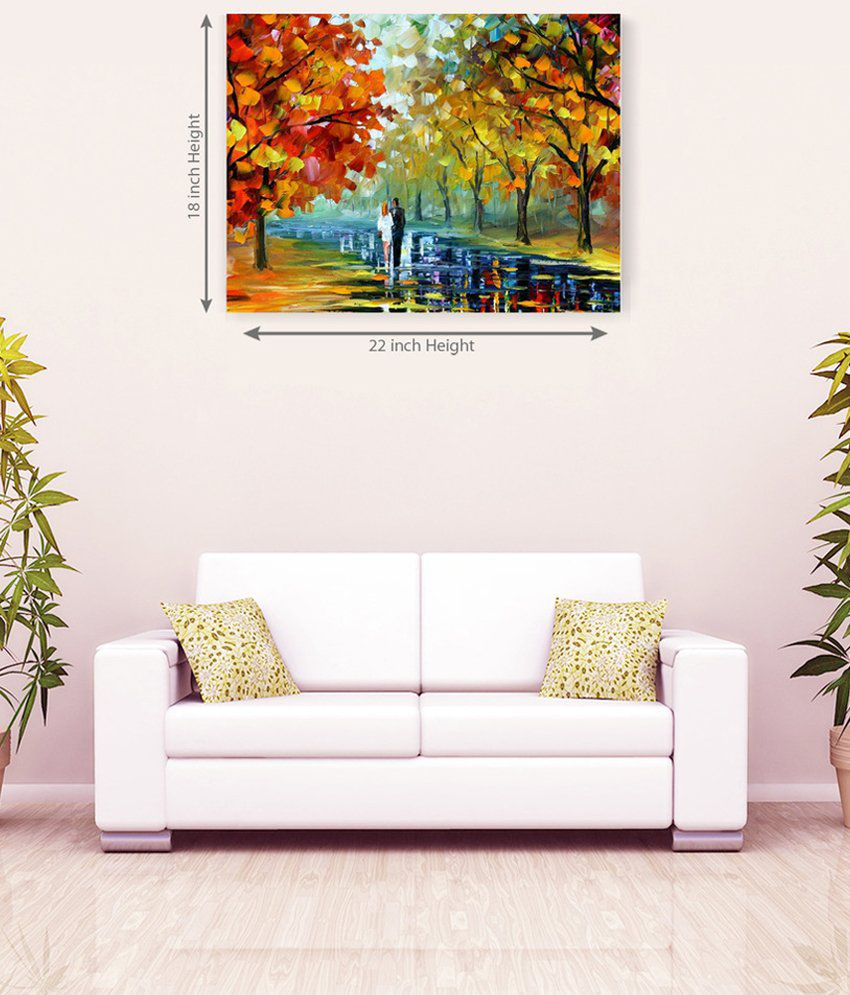 Sky Trends Colorful Forest In Romantic Couple Canvas Painting