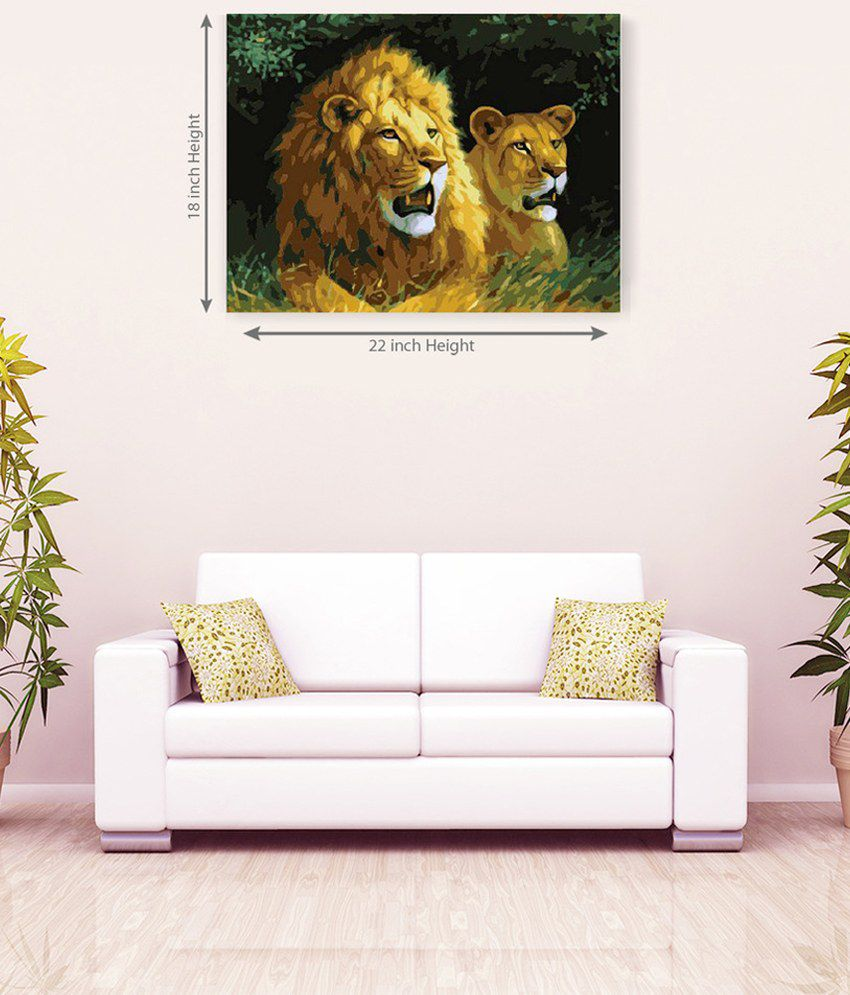 Sky Trends Pair Of Two Lion Canvas Painting