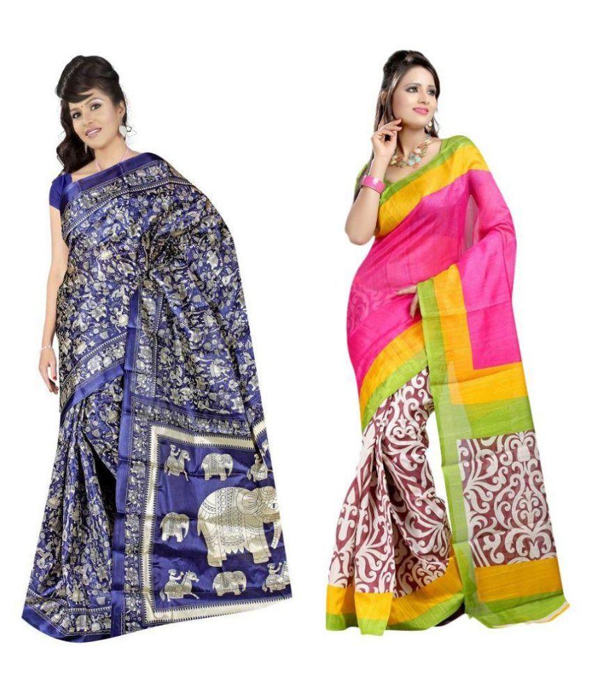Thankar Multicoloured Bhagalpuri Silk Saree Combos