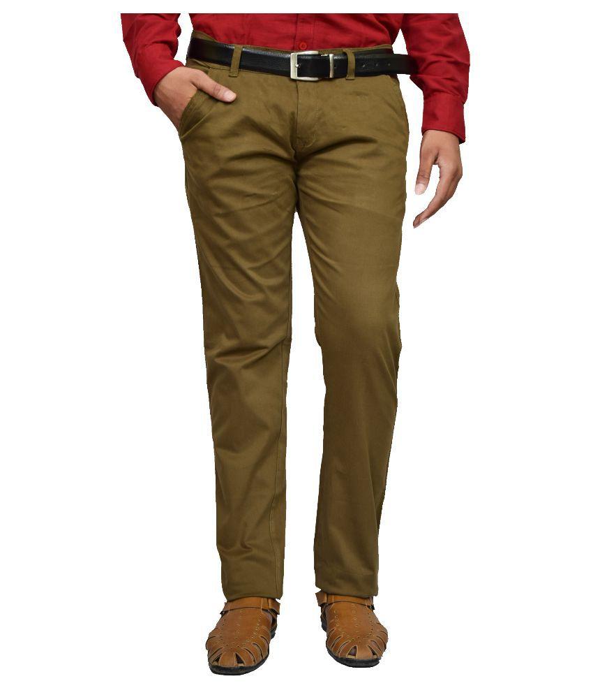American Noti Green Slim -Fit Flat Chinos