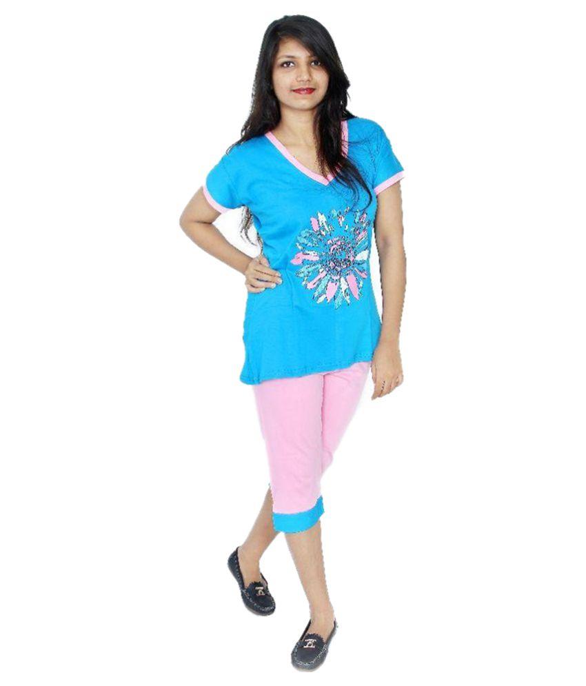Apple Knitt Wear Multi Color Cotton Nightsuit Sets