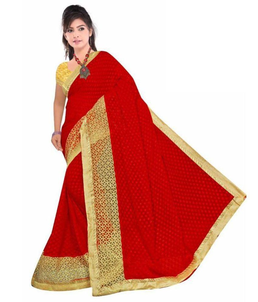 Giriraj Fashions Red and Beige Net Saree