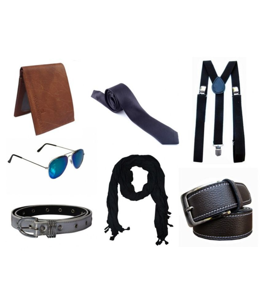 Winsome Deal Combo of Men & Women Belt with Tie, Scarf, Sunglasses, Suspender and Wallet