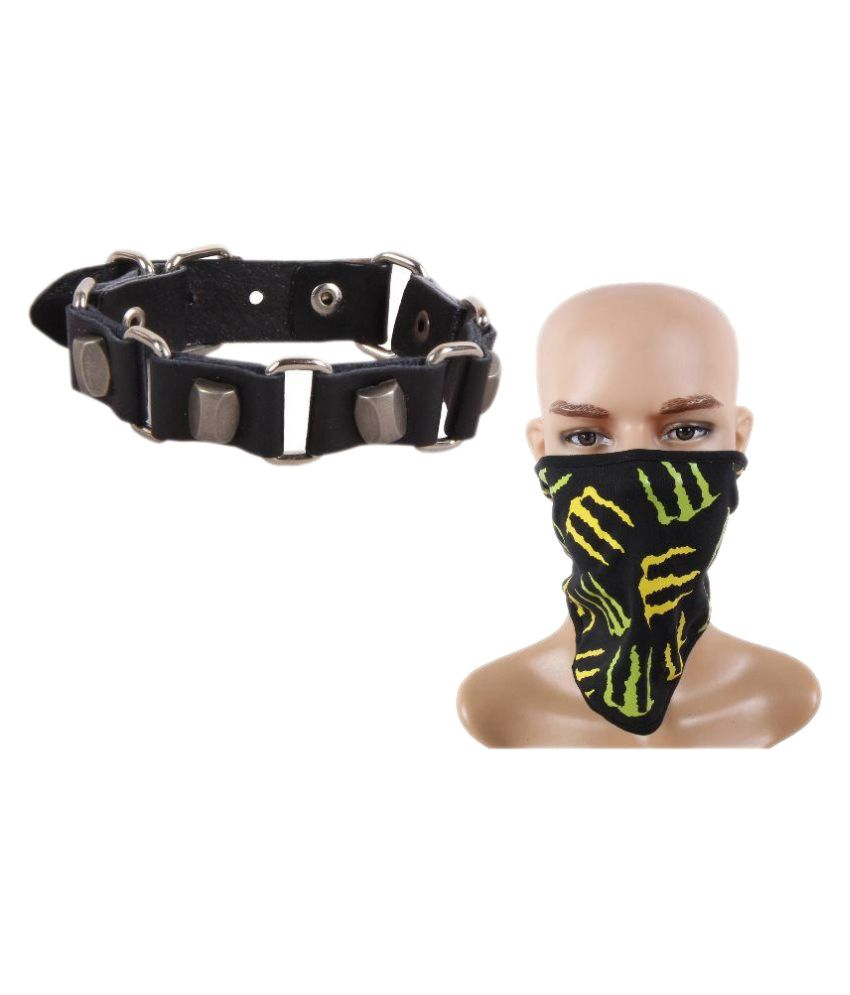 Jstarmart Black Wrist Band with Face Mask