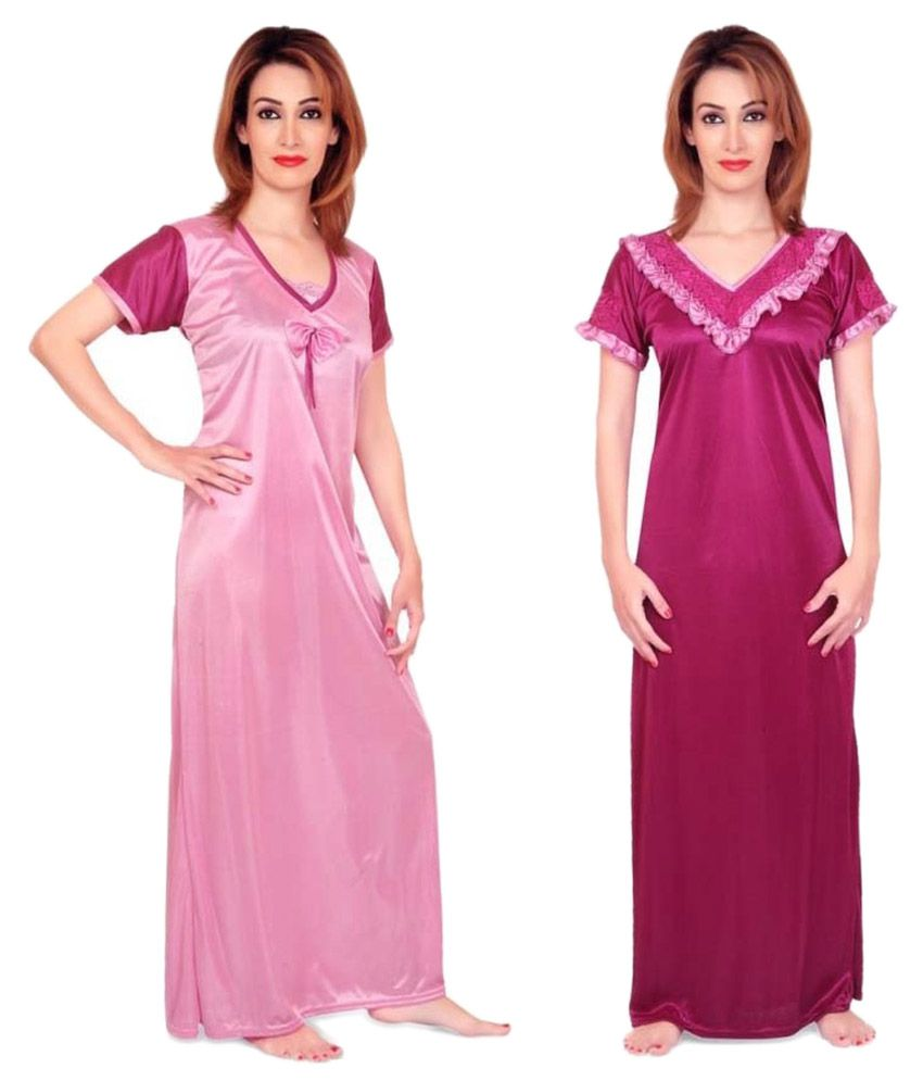 Fabme Pink Satin Nighty & Night Gowns