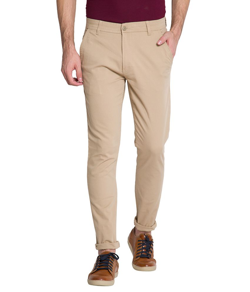 Highlander Beige Slim Chinos Trouser