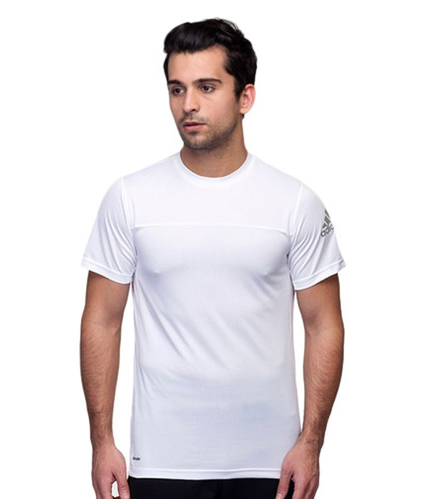 Adidas White Men's Polyester T-shirt
